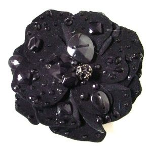 Chico's Jeweled Suede Flower Magnetic Brooch